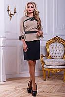 Элегантный женский костюм (костюмка, юбка длина мини, ассиметричный жакет)