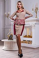 Выразительный женский костюм (костюмка, юбка двухцветная мини, жакет на молнии, вышивка) РАЗНЫЕ ЦВЕТА!
