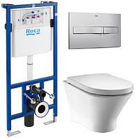 Унитаз ROCA Комплект: NEXO Rimless подвесной, PRO инсталяция для унитаза, PRO кнопка, сиденье твердое slow-closing
