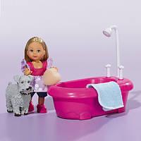 SIMBA Кукла Эви и набор для купания собаки, с функцией изменения цвета, 3+