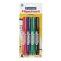 Набор маркеров Flipchart 8550, для надписей на бумаге для флипчартов и других видах бумаги, 4 цвета (чёрный, зелёный, красный, синий), круглый пишущий
