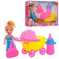 Кукла 10см, коляска, бутылочка, сумка, 600-38