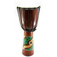 Барабан расписной дерево с кожей черный (50х22х22 см)