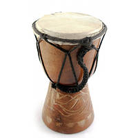 Барабан резной дерево с кожей (15х9,5х9,5 см)