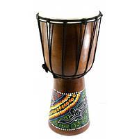 Барабан расписной дерево с кожей (40х19х19 см)