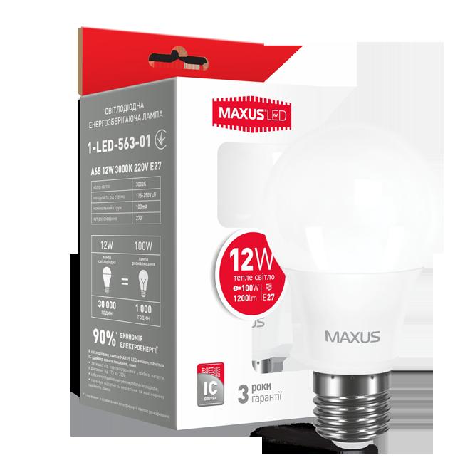 LED лампа Maxus 12w E27 3000K
