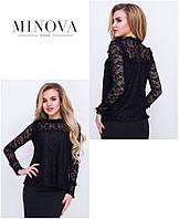 Гипюровая блуза прямой пошив прямой поставщик ТМ Минова официальный сайт (42,44,46)