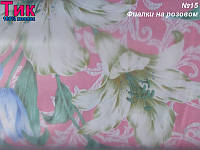 Ткань Тик наперник - Фиалки на розовом (M)