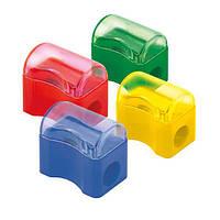 Пластиковая точилка с контейнером.  Ассорти цветов.