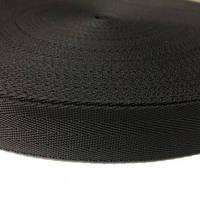 Тесьма-лента ременная производство 30мм черная зигзаг (50 метров)