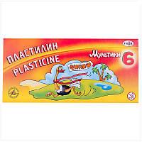 """Пластилин """"Мультики-2"""",  6 цветов, вес 120 г, в картонной упаковке со стеком."""