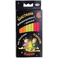 """Пластилин  """"Флюрики"""", 6 флуоресцентных цветов, пластилин светится в ультрафиолете, вес 76 г, в картонной упаковке с еврозавесом, со стеком внутри."""
