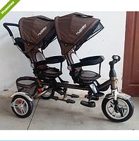 Трехколесный велосипед двухместный M 3116TW-13A DUOS, шоколадный ***