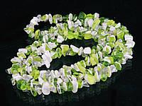 Крошка из агата 90см, бело-салатовая, фото 1