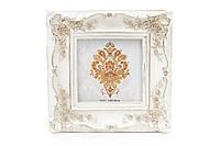 Рамка для фото квадратная Розы 16.5см, цвет - белый с золотом BonaDi 440-109