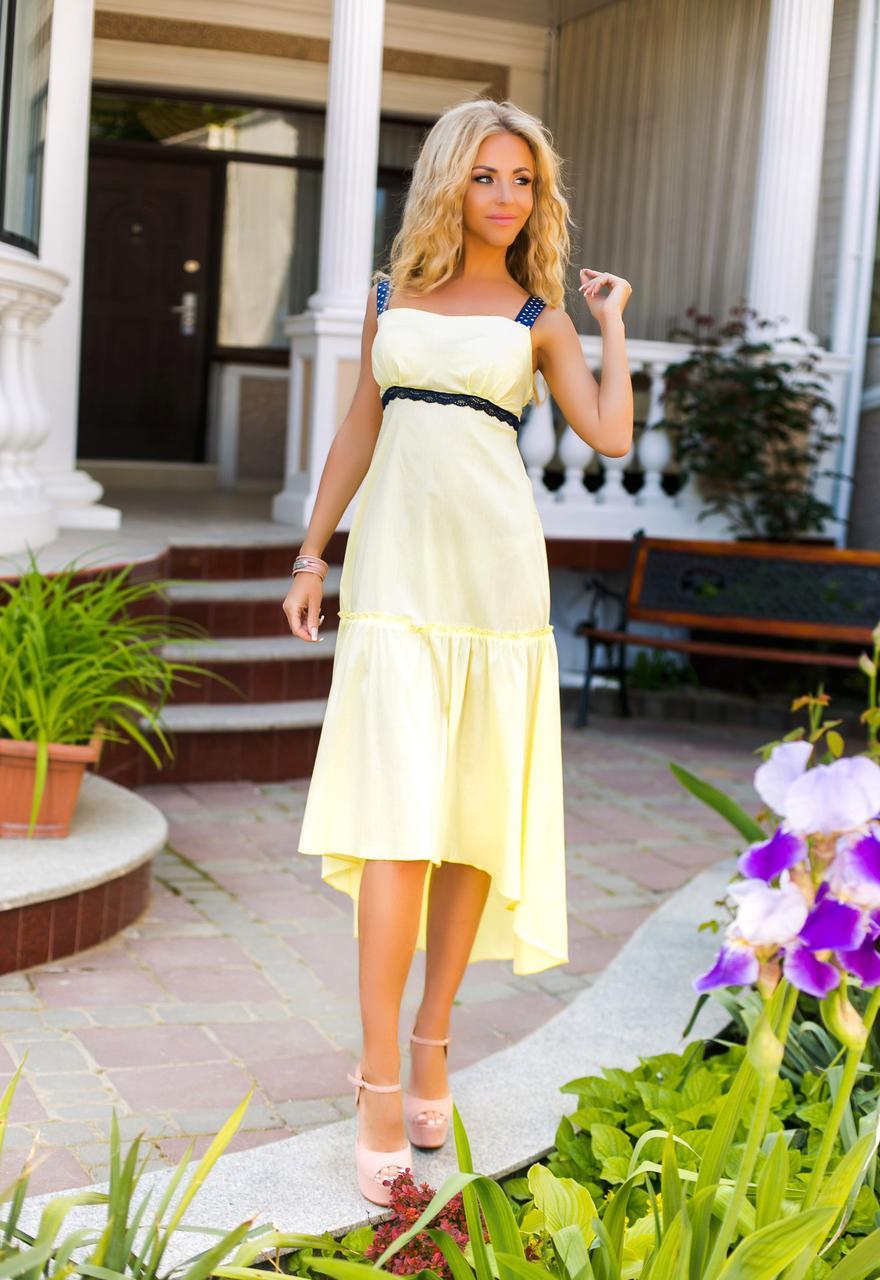 dba76cc0ceb Желтый летний женский сарафан без бретелек со вставкой из кружева под  грудью. Арт-6173
