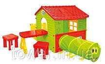 Будиночок дитячий Mochtoys з терасою стіл, 2 стільця тунель ПОЛЬЩА