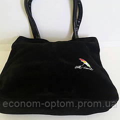 Женская черная замшевая сумка  21х27 см