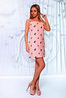 Розовый легкий короткий сарафан из натурального льна на тонких брительках. Арт-6183/91