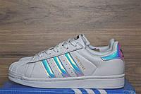Кроссовки женские Adidas Superstar код товара OD-2402 Материал натуральная кожа. Белые с перламутром