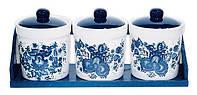 Набор: 3 банки керамических 350мл на деревянной подставке Орнамент BonaDi DM745-Z