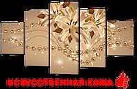 """Модульная картина на искусственной коже""""Жемчуг и лилии""""142* 80 см"""