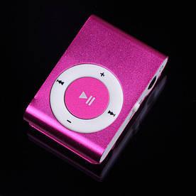 MP3 плеер алюминиевый Клипса + Наушники +USB переходник pink (розовый)