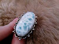 Очень крупное кольцо с натуральным ларимаром (Доминикана). Кольцо с камнем ларимар в серебре., фото 1