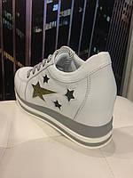 Женские кожаные кроссовки на скрытой танкетке Alpino Звезды, фото 1