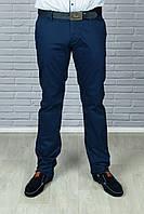 Брюки-Джинсы синые стильные с прорезными карманами и ремнем