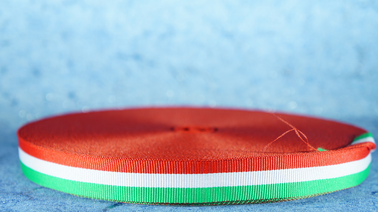 Репсова стрічка 20 мм червоний/білий/зелений