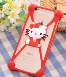 Универсальный 3D чехол-бампер Hello Kitty red
