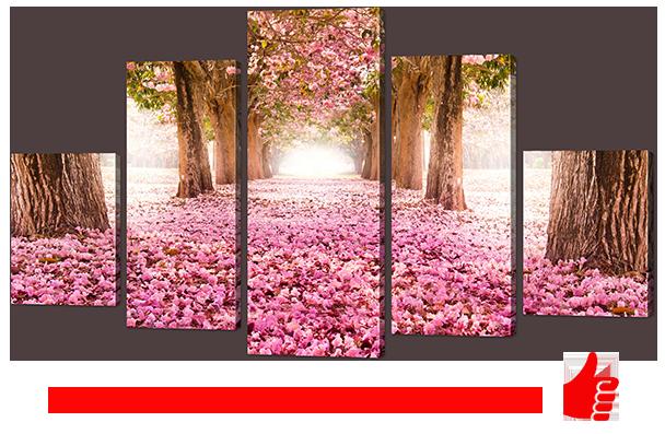 """Модульная картина """"Тропинка из лепестков сакуры""""142*80"""