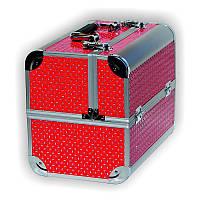 Чемодан для инструментов раздвижной (11) металлический, розовый, со стразами, Металлический чемодан