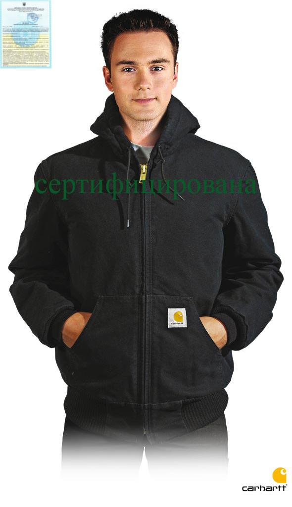 Куртка стеганая рабочая с теплым капюшоном черная Carhartt® (одежда рабочая) CA-EJ130 BLK