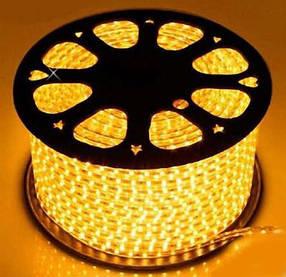 Светодиодная лента желтая SMD 2835/120 220V IP68 (1м) Код.59221