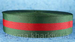 Лента репсовая зелёный/красный/зелёный