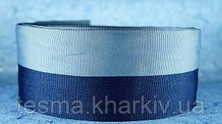 Лента репсовая 80 мм серый/синий