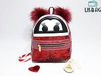 Женский Мини рюкзак Бордовый глазки с двухсторонними пайетками
