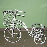 Кованая подставка для цветов Велосипед 2 белый, фото 1