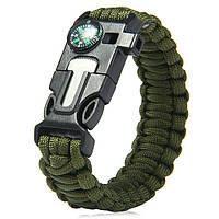 Браслет Paracord Flint-Fire + compass green