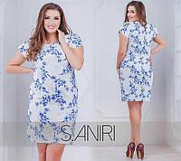 """Элегантное женское платье с цветочным принтом, ткань """"Костюмная"""" 48, 50 размер батал"""