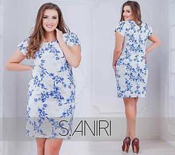 """Элегантное женское платье с цветочным принтом, ткань """"Костюмная"""" 48, 50, 52, 54 размер батал"""