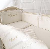 """Волшебный постельный набор в детскую кроватку для мальчика """"Принц"""" (ткань сатин) ванильный"""