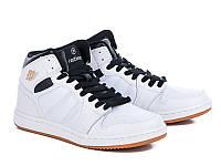 Мужские стильные удобные высокие белые кожаные кроссовки Restime