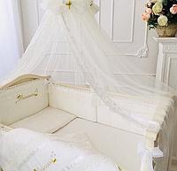 """Волшебный постельный набор в детскую кроватку для девочки """"Принцесса"""" (ткань сатин) ванильный, фото 1"""