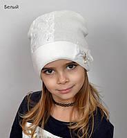Вязанная шапка для девочки с гипюром, фото 1