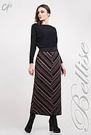 Длинная вязаная юбка черного цвета с коричневыми полосками. Размеры: 44-54