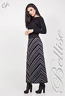 Стильная вязаная юбка в пол, с серо-синими полосками