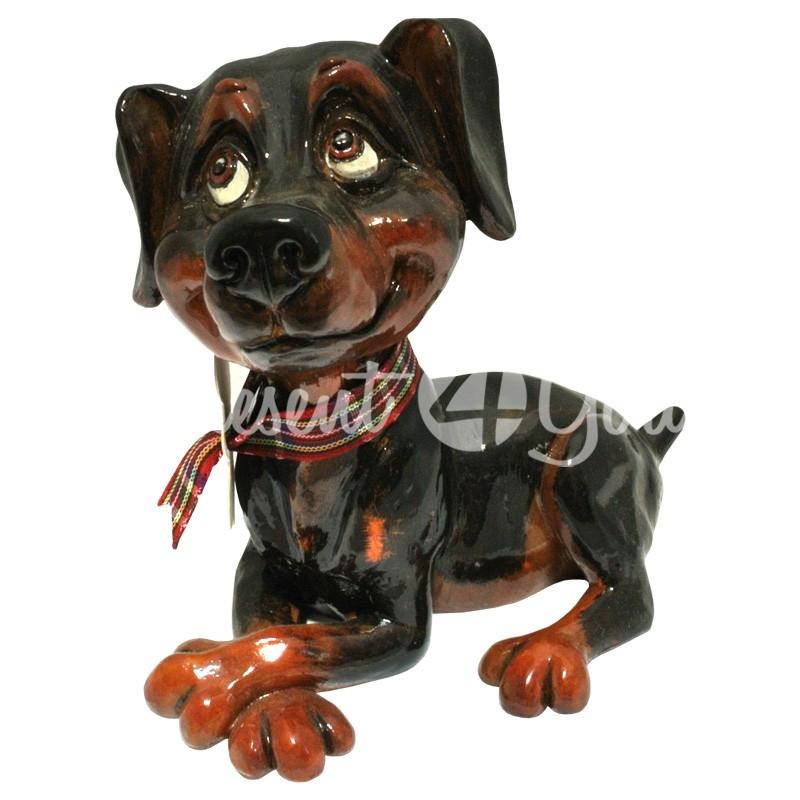 Фигурка-статуэтка коллекционная с керамики собачка доберман «Дейзи» Англия,  h-11 см